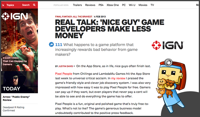 IGN discusses Pixel People and the future of Freemium.