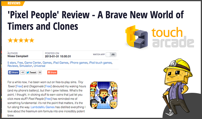 Touch Arcade's gives Pixel People a stellarreview!